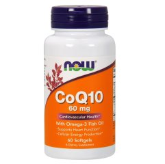 Коэнзим Q10 с Омега-3 и Лецитином (Now Foods, CoQ10 with Omega-3 Fish Oil), 60 мг, 60 мягких капсул