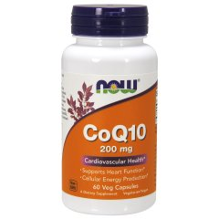Коэнзим Q10 (Now Foods, CoQ10), 200 mg, 60 вегетарианских капсул
