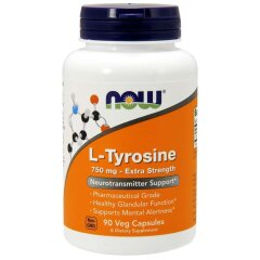 L-Тирозин (Now Foods, L-Tyrosine, Extra Strength), 750 мг, 90 вегетарианских капсул