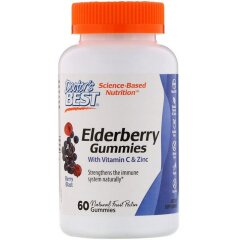 Бузина с витамином С и цинком (Doctor's Best, Elderberry Gummies with Vitamin C & Zinc), 60 жевательных конфет