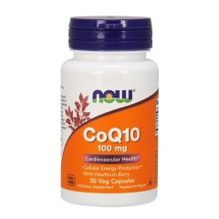 Коэнзим Q10 с боярышником (Now Foods, CoQ10 100 mg with Hawthorn Berry), 100 мг, 30 вегетарианских капсул